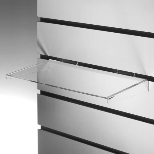 Clear Acrylic Slatwall Shelf with Side Supports - W600 x D200mm