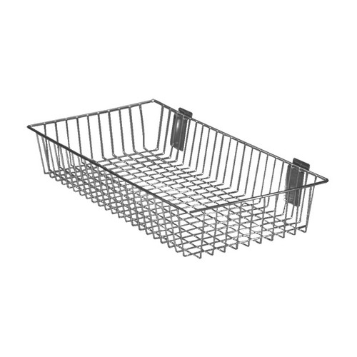 Chrome Wire Basket for Slatwall - H105 x W610 x D310mm