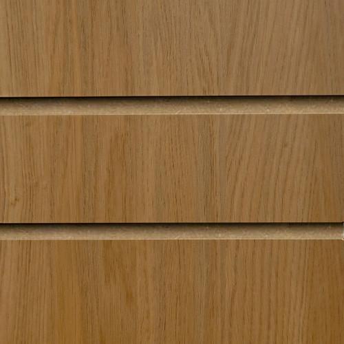 Oak Slatwall Panel - 100mm Centres - 18mm MDF