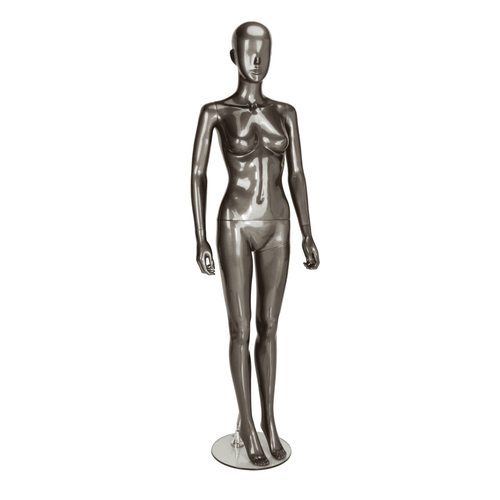 Trance Faceless Mannequin 04 - Female - Gloss Pewter - Eco-Friendly Plastic