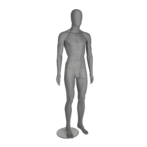 Trance Faceless Mannequin 01 - Male - Matt Grey - Eco-Friendly Plastic