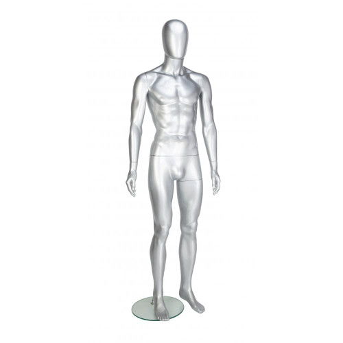 Trance Faceless Mannequin 03 - Male - Gloss Silver - Eco-Friendly Plastic
