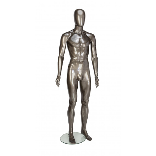Trance Faceless Mannequin 03 - Male - Gloss Pewter - Eco-Friendly Plastic