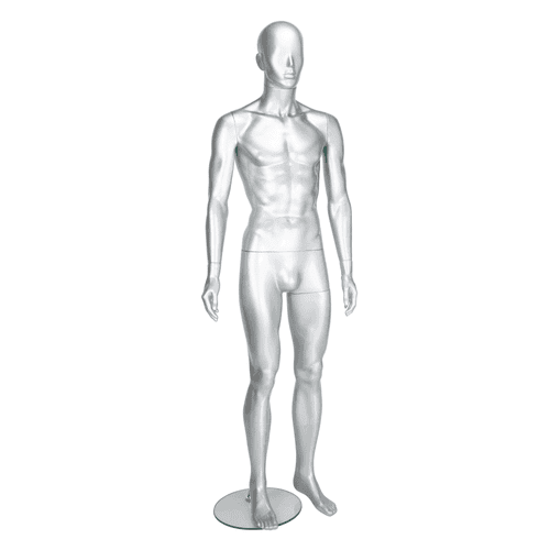 Candor Faceless Mannequin 03 - Male - Gloss Silver - Eco-Friendly Plastic