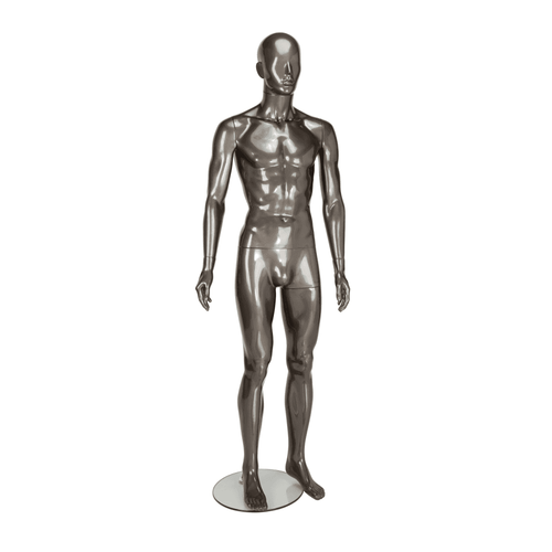 Candor Faceless Mannequin 04 - Male - Gloss Pewter - Eco-Friendly Plastic