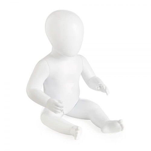 Faceless Baby Mannequin Babba 02 - Gloss White - Eco-Friendly Plastic