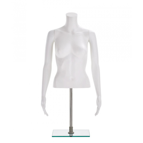 Half-Form Mannequin Top on Square Stand - Female - Matt White