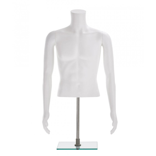 Half-Form Mannequin Top on Square Stand - Male - Matt White