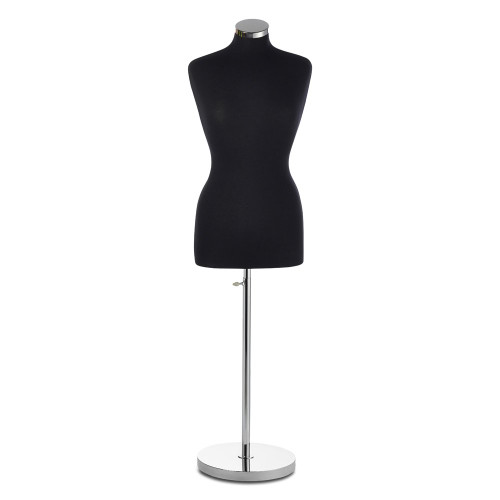 Black Display Bust with Chrome Base - Female - Size 6-8