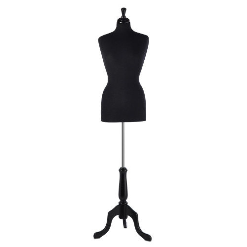 Black Display Bust with Black Tripod Base - Female - Size 6-8
