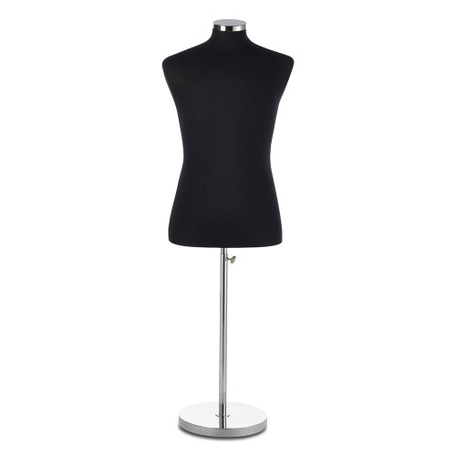 Black Display Bust with Chrome Base - Male - Size 6-8