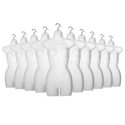 10 x White Frosted Hanging Body Forms - Female - H870mm