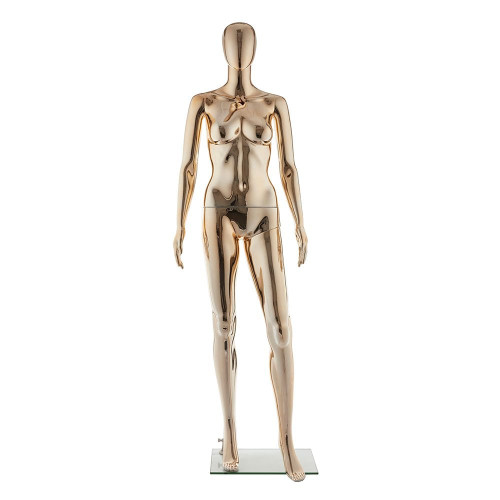 Faceless Mannequin 03 - Female - Metallic Pale Gold - Eco-Friendly Plastic