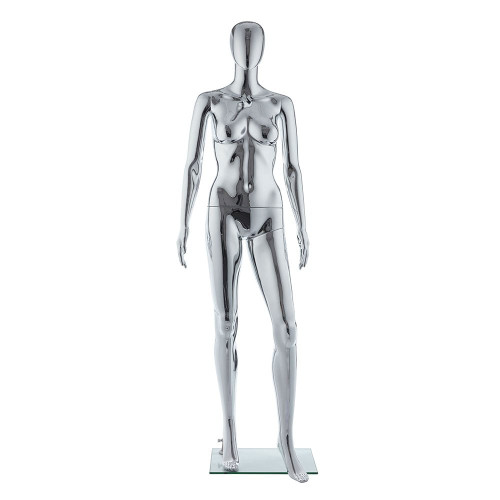 Galaxy Faceless Mannequin 01 - Female - Metallic Chrome - Eco-Friendly Plastic