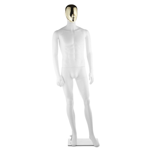 Focus Mannequin 01 - Male - Gloss White - Gold Face