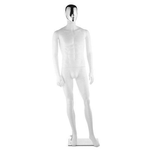 Focus Mannequin 02 - Male - Gloss White - Silver Face