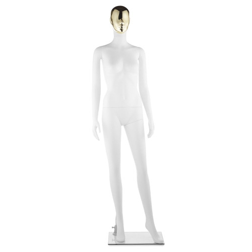 Impact Mannequin 01 - Female - Gloss White - 1 Gold Face + 1 Silver Face