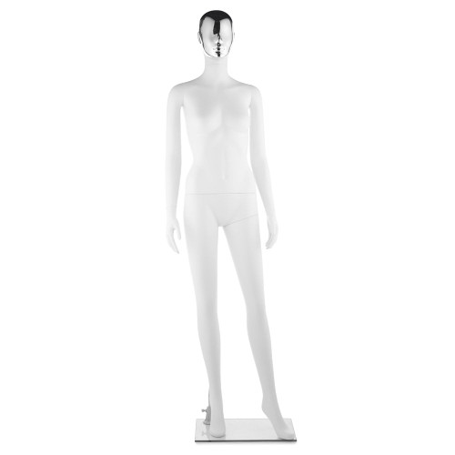 Impact Mannequin 04 - Female - Gloss White - 1 Gold Face + 1 Silver Face