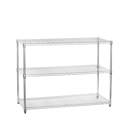 3 Tier Chrome Wire Shelving Unit - H900 x W1200 x D450mm