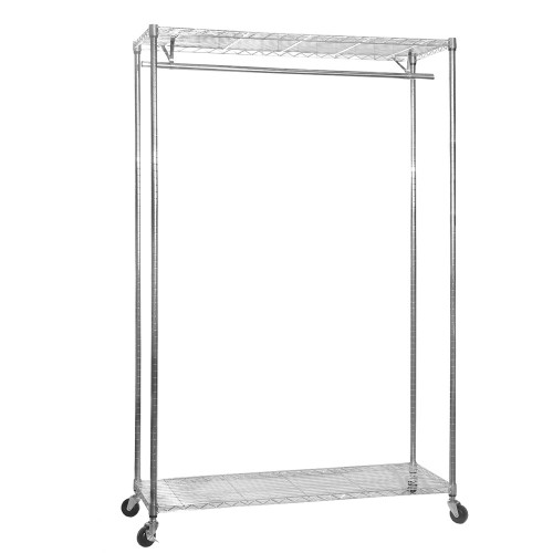 Chrome Wire Clothes Rack with Wheels - 1 x Rail & 2 x Shelves - H1875 x D450mm