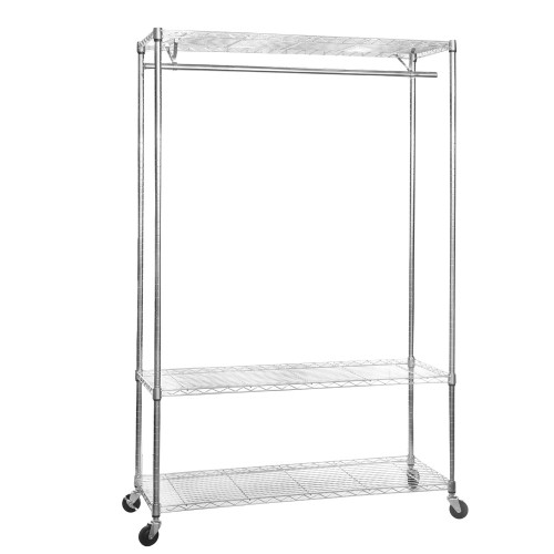Chrome Wire Clothes Rack with Wheels - 1 x Rail & 3 x Shelves - H1875 x D450mm