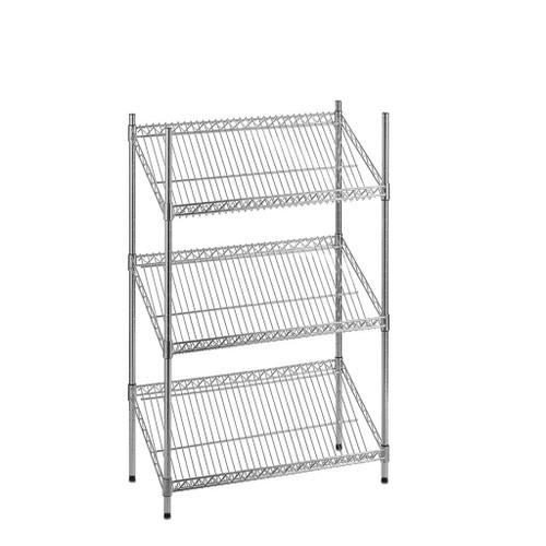 3 Tier Chrome Wire Shelving Unit with Slanted Shelves - H1200 x D450mm
