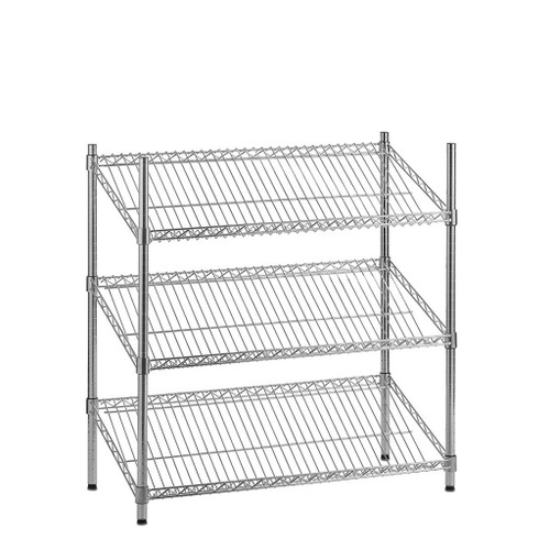 3 Tier Chrome Wire Shelving Unit with Slanted Shelves - H900 x D450mm