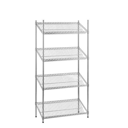 4 Tier Chrome Wire Shelving Unit with Slanted Shelves - H1600 x D450mm