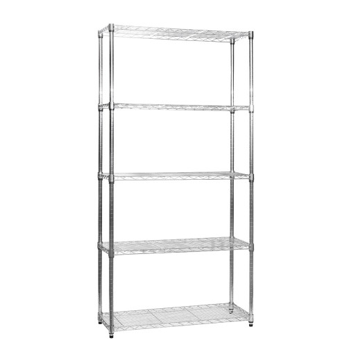5 Tier Chrome Wire Shelving Unit - H1800 x D350mm