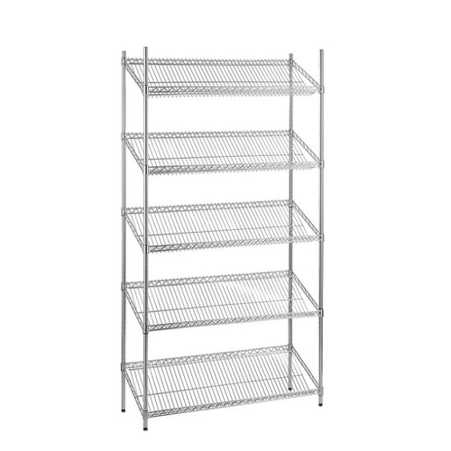 5 Tier Chrome Wire Shelving Unit with Slanted Shelves - H1800 x D450mm