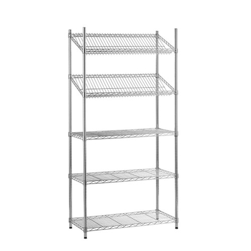 5 Tier Chrome Wire Shelving Unit with Slanted and Straight Shelves - H1800 x D450mm