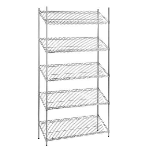 5 Tier Chrome Wire Shelving Unit with Slanted Shelves - H2100 x D450mm