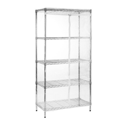 5 Tier Chrome Wire Shelving Unit with Clear Fitted Cover - H2100mm