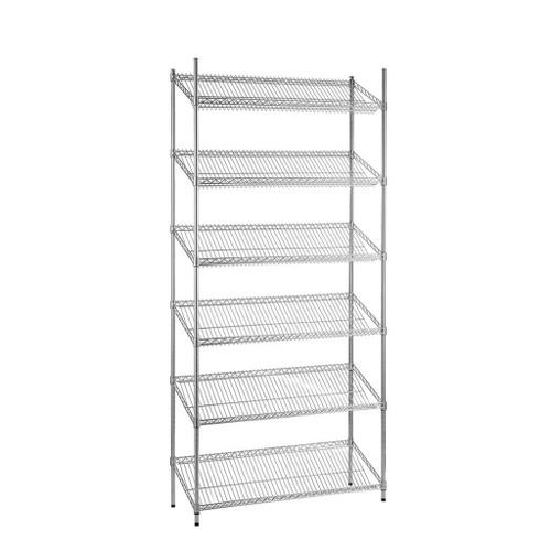 6 Tier Chrome Wire Shelving Unit with Slanted Shelves - H1800 x D450mm