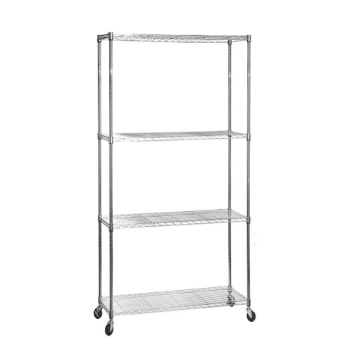 4 Tier Chrome Wire Shelving Unit with Wheels - H1875 x D450mm