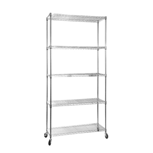 5 Tier Chrome Wire Shelving Unit with Wheels - H1875 x D450mm