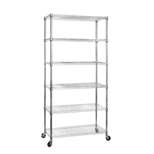 6 Tier Chrome Wire Shelving Unit with Wheels - H1875 x D450mm