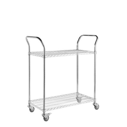2 Tier Chrome Wire Shelf Trolley with Handles - H960 x W900 x D450mm