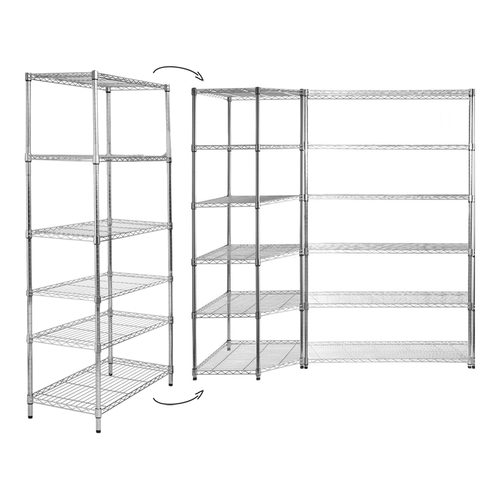 2 x 6 Tier Chrome Wire Shelving Unit & Corner Bundle - H1800 x W1200 (x2) x D450mm