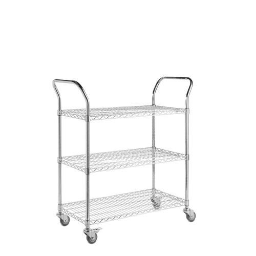 3 Tier Chrome Wire Shelf Trolley with Handles - H960 x W900 x D450mm