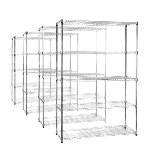 4 x 5 Tier Chrome Wire Shelving Units - H1800 x W1200 x D450mm