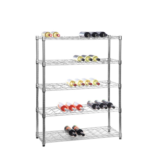 5 Tier Chrome Wire Wine Rack - Holds 45 Bottles - H1200 x W900 x D350mm
