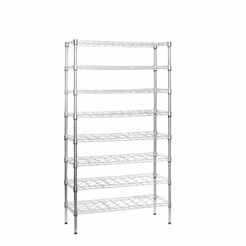 8 Tier Chrome Wire Wine Rack - Holds 72 Bottles - H1600 x W900 x D350mm