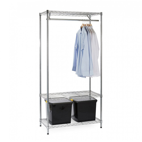 Chrome Wire Clothes Rack plus 2 x 37L Clear Storage Boxes - H1800 x W900 x D450mm