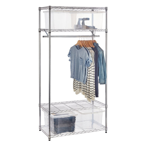 Chrome Wire Clothes Rack plus 4 Clear Storage Boxes - H1800 x W900 x D450mm