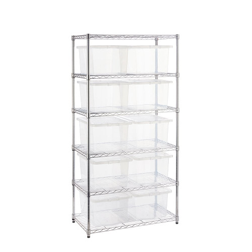 Chrome Wire Shelving Unit plus 10 Clear Storage Boxes - H1800 x W900 x D450mm