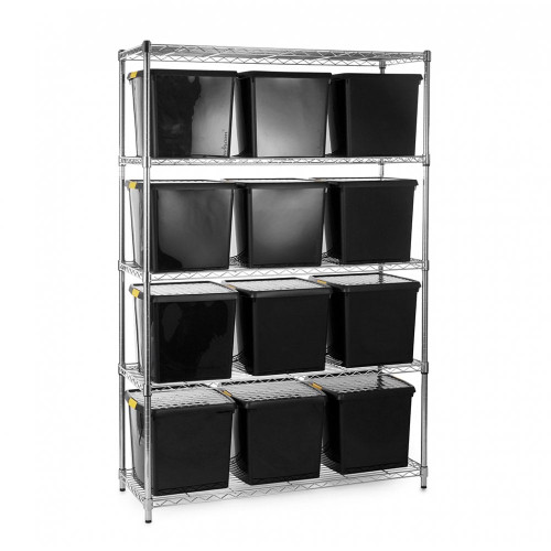 Chrome Wire Shelving Unit plus 12 Black Recycled Storage Boxes - H1800 x W1200 x D450mm