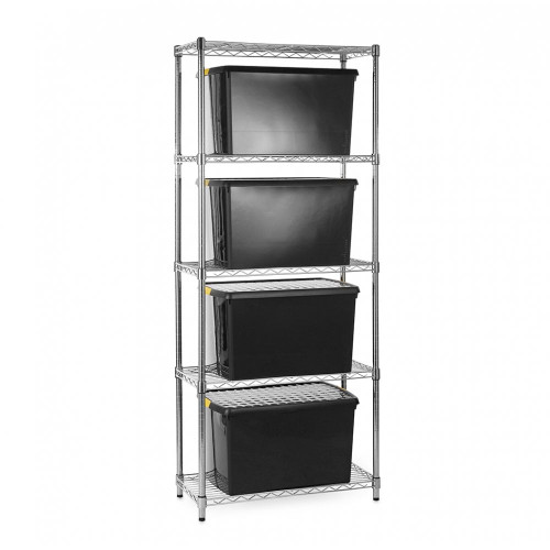 Chrome Wire Shelving Unit plus 4 Black Recycled Storage Boxes - H1800 x W750 x D350mm