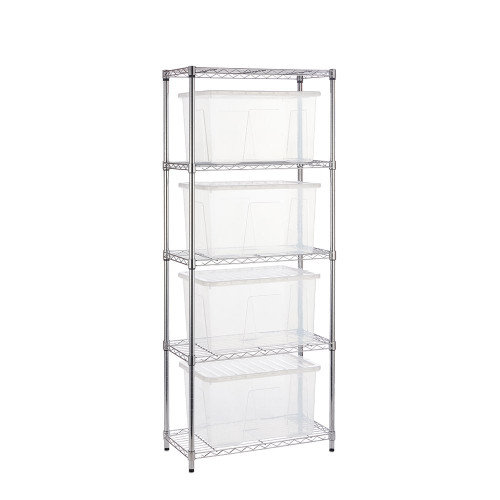 Chrome Wire Shelving Unit plus 4 Clear Storage Boxes - H1800 x W750 x D350mm