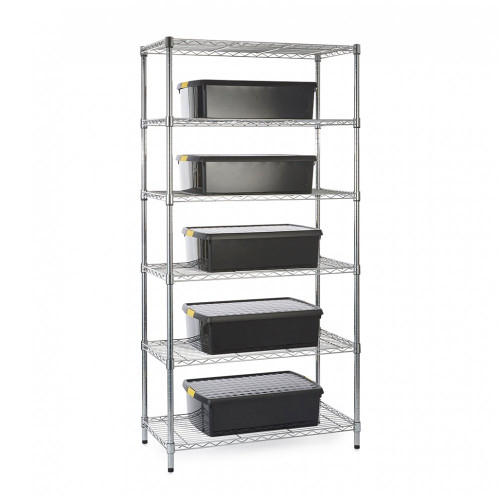 Chrome Wire Shelving Unit plus 5 Black Recycled Storage Boxes - H1800 x W900 x D450mm